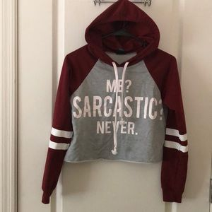 Maroon and gray hoodie cropped up